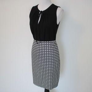 ANN TAYLOR Size 6 Black White Skirt Blouse Set
